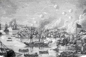 Una batalla naval durante la  guerra del opio